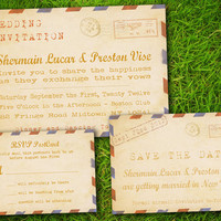 Double Sided Printable - Vintage Rustic Retro Old Fashioned Airmail PostCard Wedding Invitation Suite. Set of SaveTheDate, Invite and RSVP
