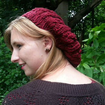 KNITTING PATTERN: Chunky cable knit slouchy hat/beret makes a great DIY handmade gift