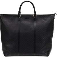 VONW3Q Gucci Black GG Diamante Leather Top Handle Large Tote Bag