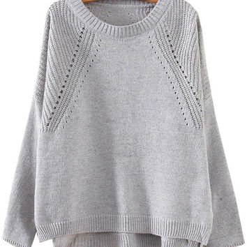 Grey Cutout Slit Knit Long Sleeve Sweater