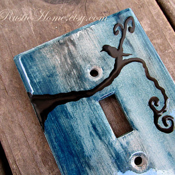 Black bird rustic light switch plate cover kiln fired pottery blue brown
