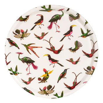 Round tray - White/Birds - | H&M GB