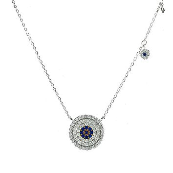 A Beautiful Blue Sapphire Pave Platinum Pendant Necklace