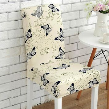 Elastic Vintage Butterfly Flowers Pattern Chair Covers