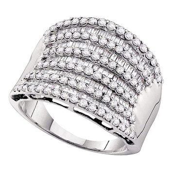 14kt White Gold Women's Round Baguette Diamond Striped Fashion Band Ring 1-5/8 Cttw - FREE Shipping (US/CAN)