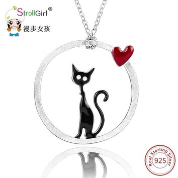 Strollgirl 925 Sterling Silver Cat with Love Heart Round Shape Pendants & Necklaces For Women's Accessories Fashion Jewelry Gift