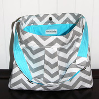 Chevron Diaper Bag in Grey and White CHEVRON with Aqua lining