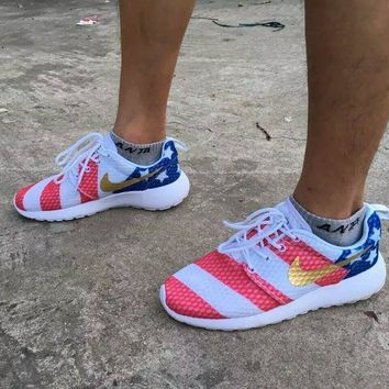 12fdd19de7fa Nike roshe run American Flag Men Women Running Shoes