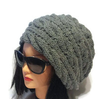 Knitted Beanies for Women, Winter Slouch Hat, Unique Gift for Wife, Cool Fashion, Canadian Designer, Oversized Beanie, Warm and Chunky Hat