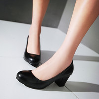 Women Chunky Heel Pumps High Heels Dress Shoes Plus Size