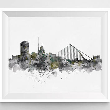 Dublin Skyline, Dublin Print, Ireland Poster, Cityscape Art Watercolor Painting, Travel, City Painting, Wall Art, Gift, Home Decor, Download