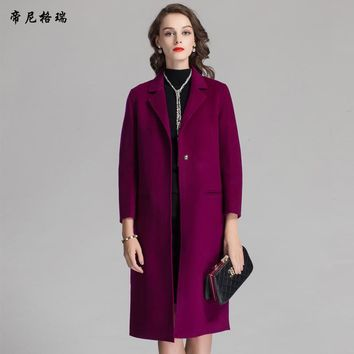 2016 New women wool coat double-side wool single-button coat down warm women winter long coat