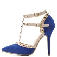 Cobalt Studded Strappy Pointed Toe Pumps by Charlotte Russe