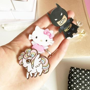 Cartoon Anime Brooches Pins Lovely Girl Gift Cat Batman Animation Animal Character Badge Super Hero Brooch Children Pins