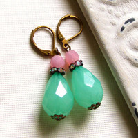 Green and Pink Parisian Vintage Shabby Chic Earrings