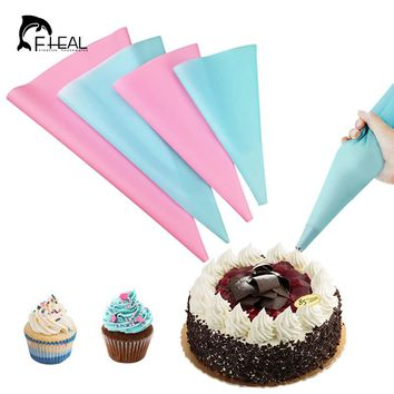 FHEAL 4pcs/set Reusable Piping Bags Icing Bag Set Dessert Decorators Cake Decorating Cream Syringe Tips Bakeware Cake Tools
