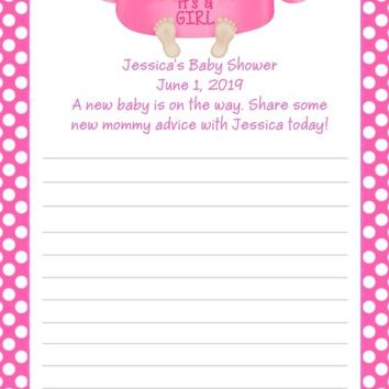10 Its A Girl Baby Shower Advice Cards Light Skin
