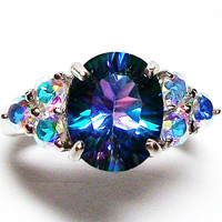 "Petalite and mercury mist topaz accent ring s 7  ""Rainbow Rhapsody"""