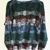 Vintage 1990's Retro Slouchy Knit Grandpa Sweater