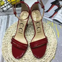 GUCCI 2018 new women's beautiful fashionable high-end high-heeled shoes F-OMDP-GD red
