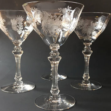 Tiffin-Franciscan Etched Crystal Champagne Glasses, Set of 5 Persian Pheasant Etched Champagne Stemware
