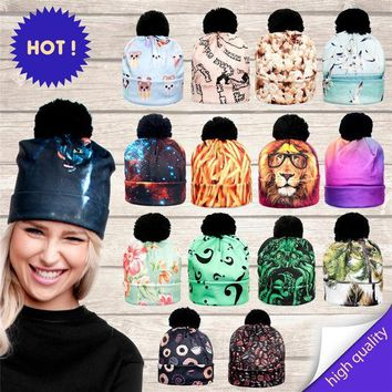 MDIG9GW 2016 3D Animal Print Women Hats Autumn and Winter Cap Multi Colors Unisex Hat Fashion Lady Hats Ball Pom Skully Beanies PY213