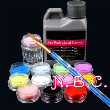 1 pcs Professional 120ml Acrylic Liquid Set for Nail Art Tips varied Acrylic Powders Crystal Brush Glass Cup Manicure Set Kits