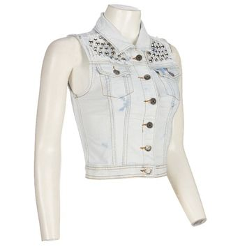 Studded Bleached Denim Vest Jr  272173473 | Tops | Women | Burlington Coat Factory