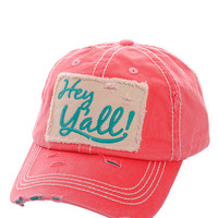 Hey Ya'll Distressed Cotton Baseball Cap Hat Fuchsia, Embroidered On Torn Denim Decor