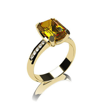 Citrine ring, yellow gold, emerald cut, engagement ring, Solitaire, Diamond,  yellow, diamond ring, Citrine, birthstone