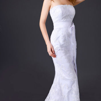 White Strapless Lace Ribbon Mermaid Bridal Dress