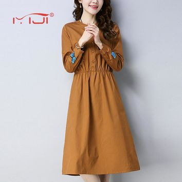 Spring Shirt Dress 2018 Solid Color Elastic Waist Dress Women Elegant Embroidered Butterfly Robe Femme Literary cotton and linen