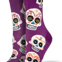 Day Of The Dead Sugar Skull Women's Crew Socks