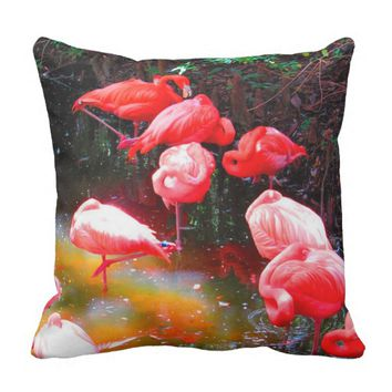 BRIGHT PINK FLAMINGOS, Stylized Photo Print Throw Pillow