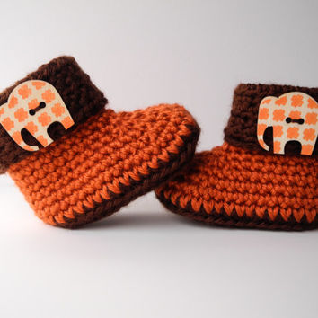 Crochet Baby Booties Elephant Orange and Brown African - Crochet Baby Boots - Baby Shoes - Baby Clothes - Gender Neutral