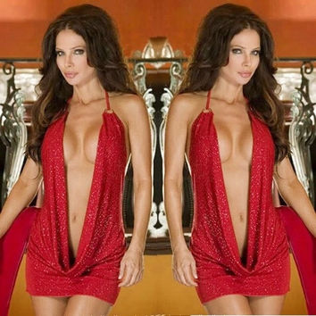 Red Simple Jumpsuits Sexy Charming Lingerie Sleep Dress Suspender Skirt Pajamas Slim Short Confortable = 1932348228