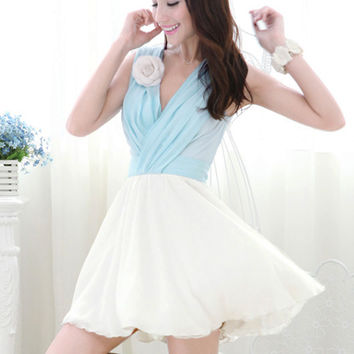 Marie Antoinette Style Light Blue And White Color Block V Neck Chiffon Dress
