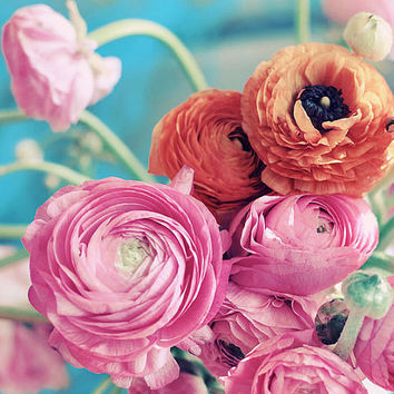 Still Life Photograph, Ranunculus Bouquet, 8x10 Print, Shabby Chic , Fine Art Photo, Flower Photography