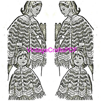 1960s Crochet Vintage Pattern-Mother and Daughter Crocheted PONCHO-Mommy and Me-Matching Cape Patterns for Mother and Daughter-Caplet-Jacket