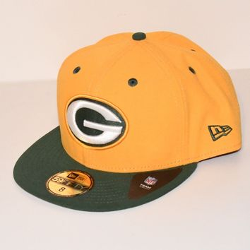 Green Bay Packers Hat Size 8 NFL Cap Flat Brim new Era 5950 Yellow with G Logo
