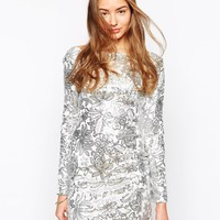 Club L Floral Sequin Body-Conscious Dress