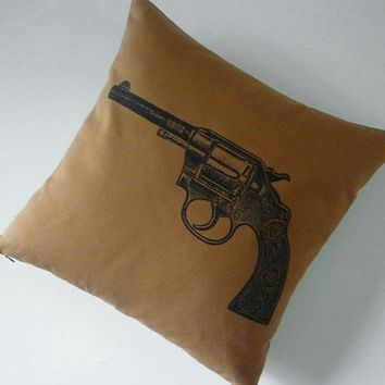 Vintage Colt Revolver Gun silk screened by utilitarianfranchise