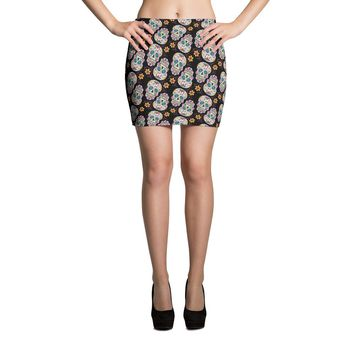 Sugar Skull Day of The Dead BLACK Mini Skirt
