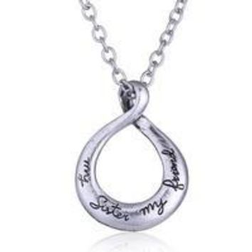 "Vintage Silver ""My Sister My Friend"" Engraved Handstamped Twist Circle Pendant Necklace"