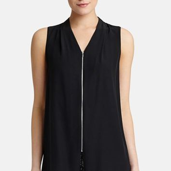 Women's Lafayette 148 New York 'Juanita' Front Zip Silk Blouse,