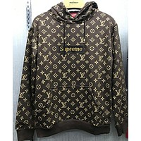 Supreme X Louis Vuitton LV men and women tide brand top sweater hoodie F