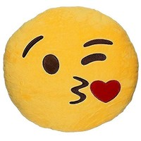 1 X Round Oi Emoji Smiley Emoticon Cushion Pillow Stuffed Plush Toy Doll Yellow(sweet Kiss+free Kiss Key Chain)