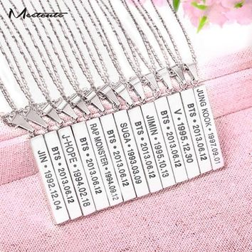 Meetcute New Titanium BTS Members Name Date Cuboid Bar Pendant Necklace Fashion Jewelry BTS Necklaces For Fans
