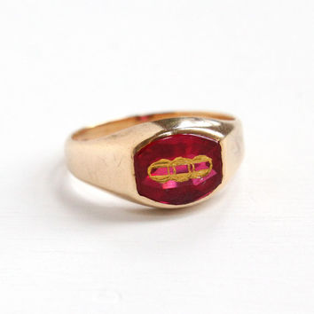 Vintage 10k Yellow Gold Odd Fellows Created Ruby Ring - Vintage Art Deco Size 9 1/4 Mens Synthetic Red Pink Stone Fraternal Fine Jewelry