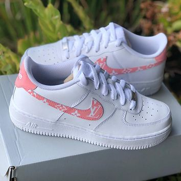 "Air Force 1 ""Pink Supreme Louis Vuitton"" Customs"